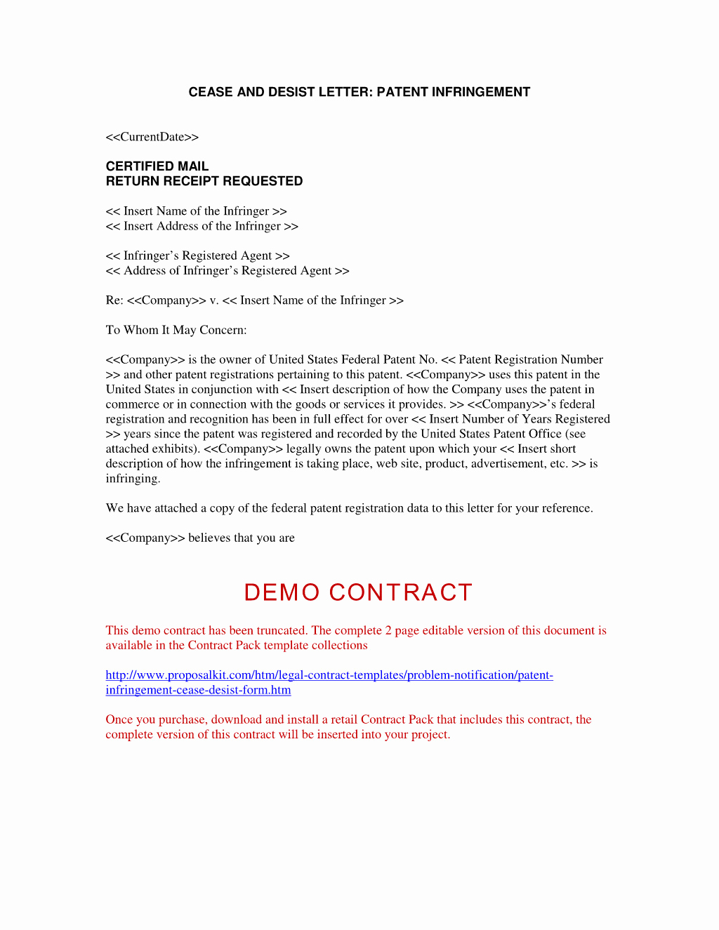 Free Cease and Desist Letter New Cease and Desist Letter Patent Infringement Template