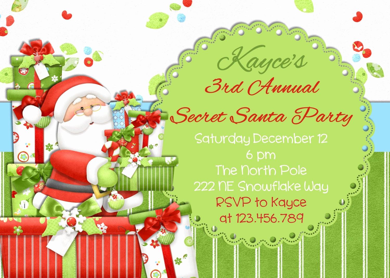 Free Christmas Invitation Templates Fresh Secret Santa Christmas Party Invitation Printable Design