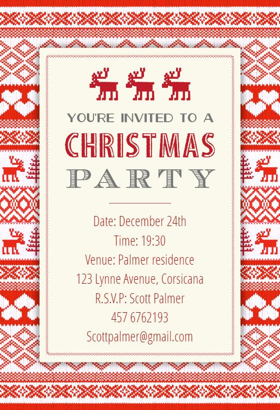 Free Christmas Invitation Templates New Sweaters Pattern Free Christmas Invitation Template
