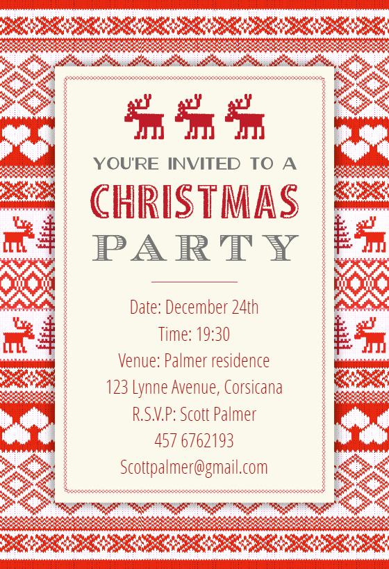 Free Christmas Party Invitation Templates Inspirational Sweaters Pattern Free Christmas Invitation Template