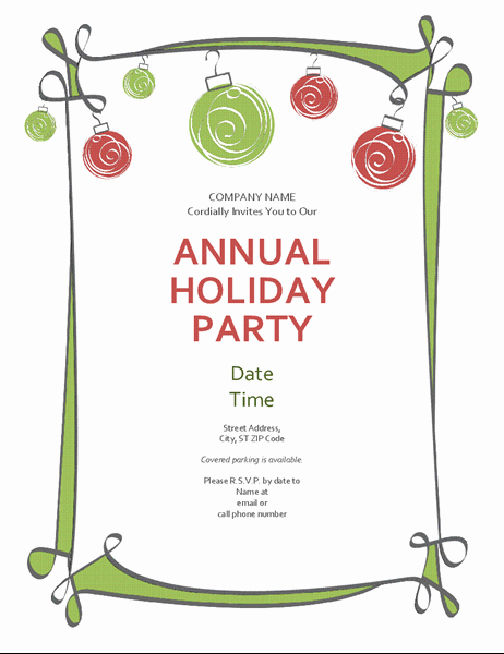 Free Christmas Party Invitation Templates New Holiday Party Invitation with ornaments and Swirling