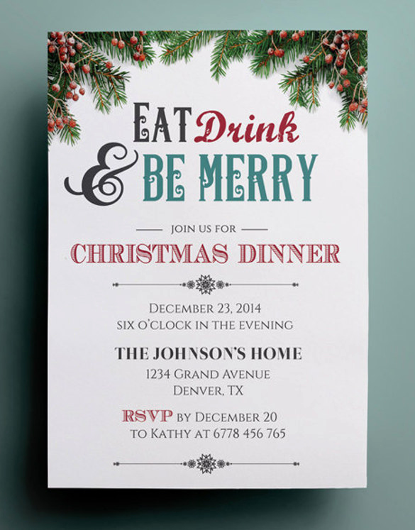 Free Christmas Party Invitations Template Beautiful 49 Dinner Invitation Templates Psd Ai Word
