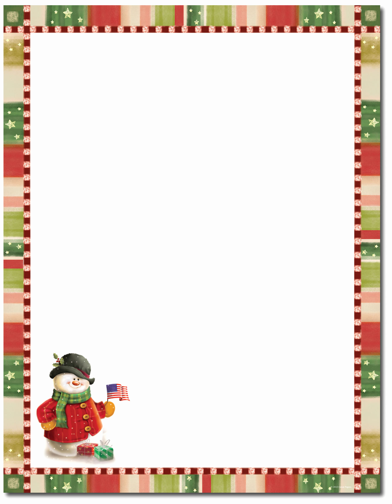 Free Christmas Stationery Templates Awesome Great Papers Patriotic Snowman Letterhead