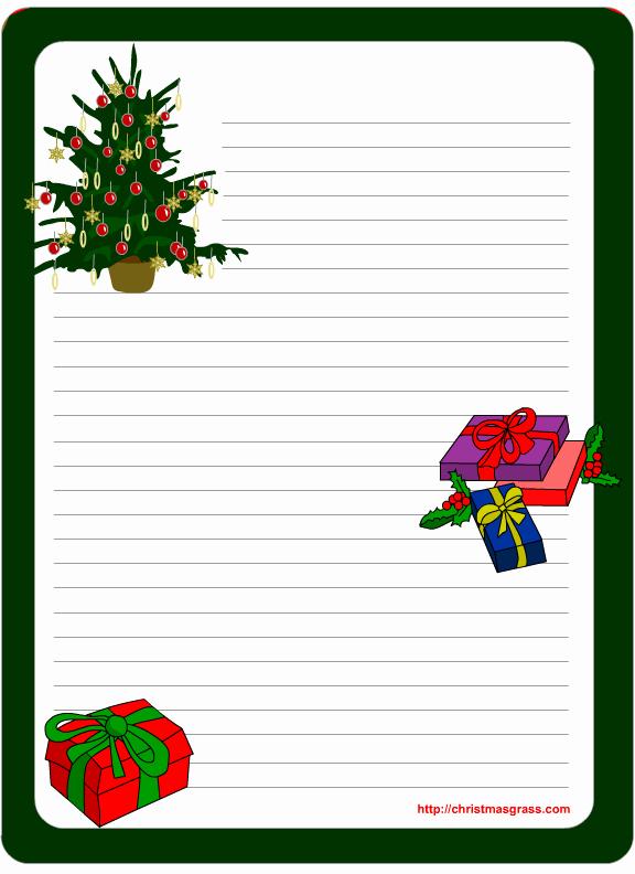 Free Christmas Stationery Templates Elegant Printable Stationery Template with Christmas Tree and Gifts