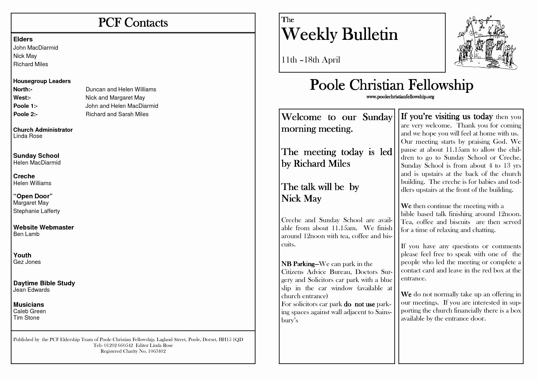 Free Church Bulletin Templates Best Of Church Bulletin Templates