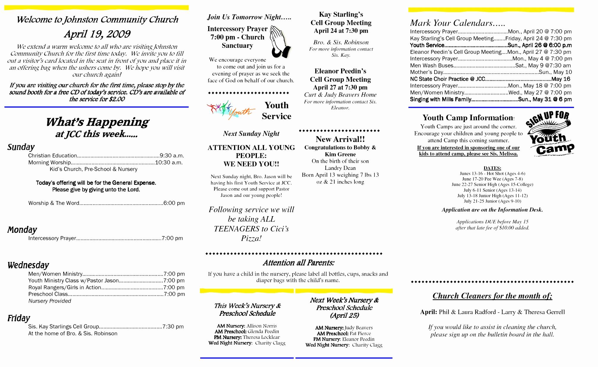 Free Church Bulletin Templates Elegant 12 Church Bulletin Template Microsoft Word Oinwy