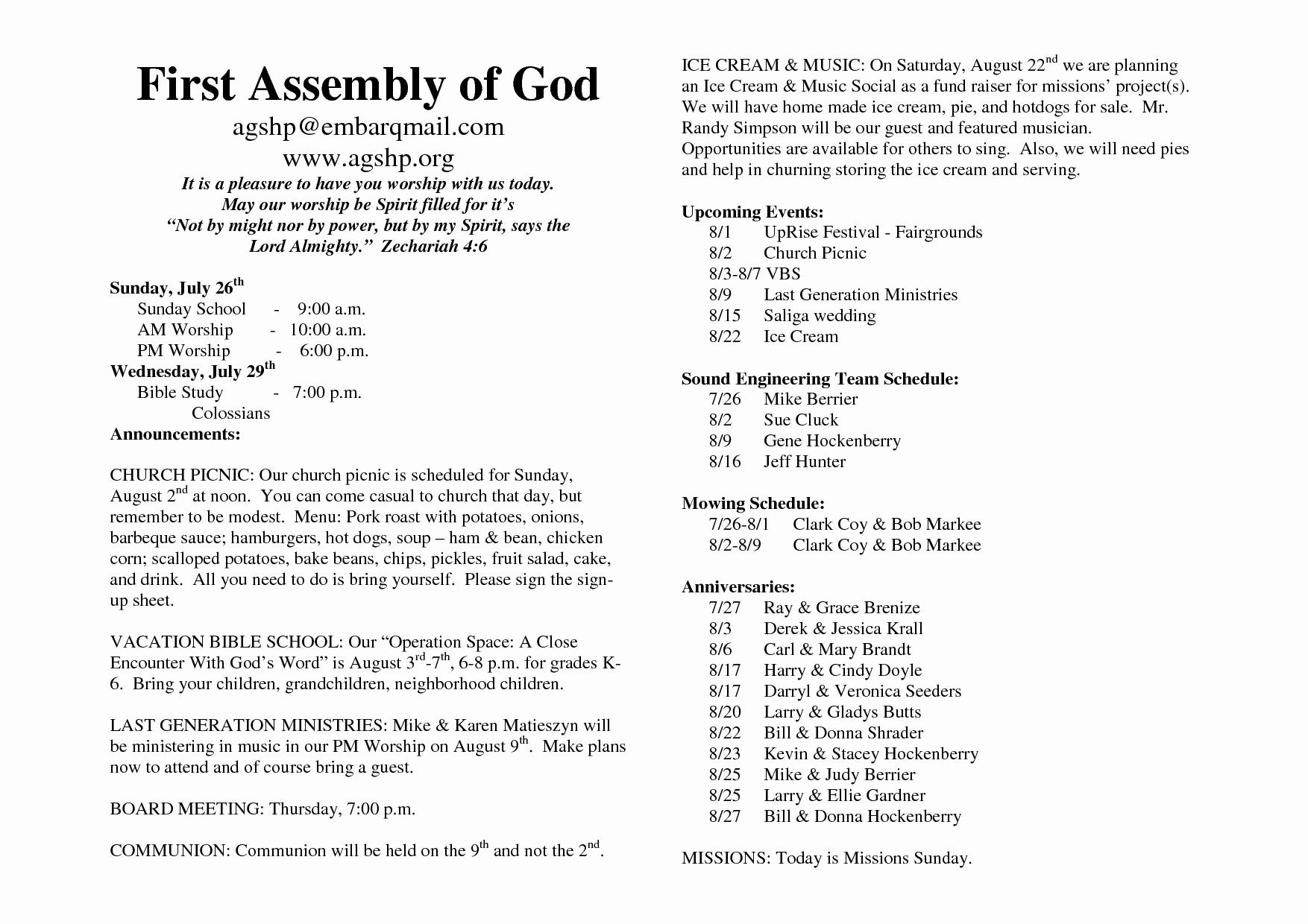 Free Church Bulletin Templates New 26 Of Church Bulletin Template Microsoft Word