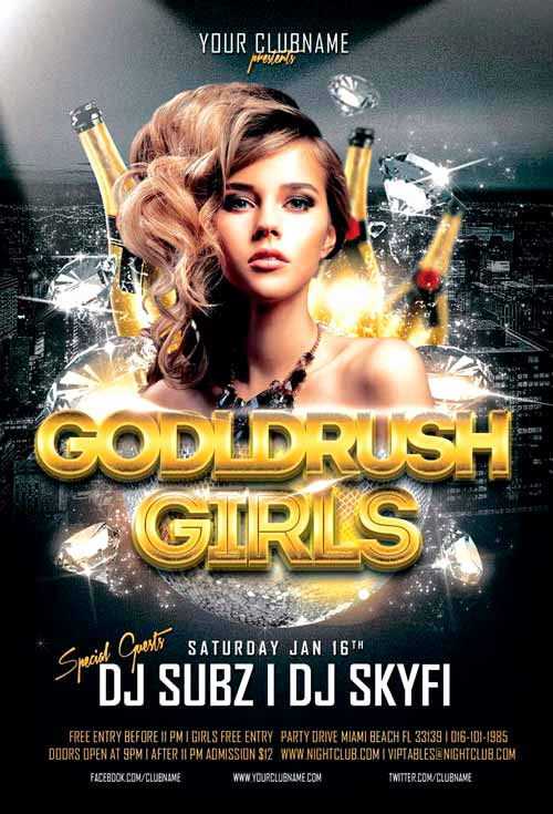 Free Club Flyer Templates Beautiful Goldrush Girls Club Flyer Template for Shop