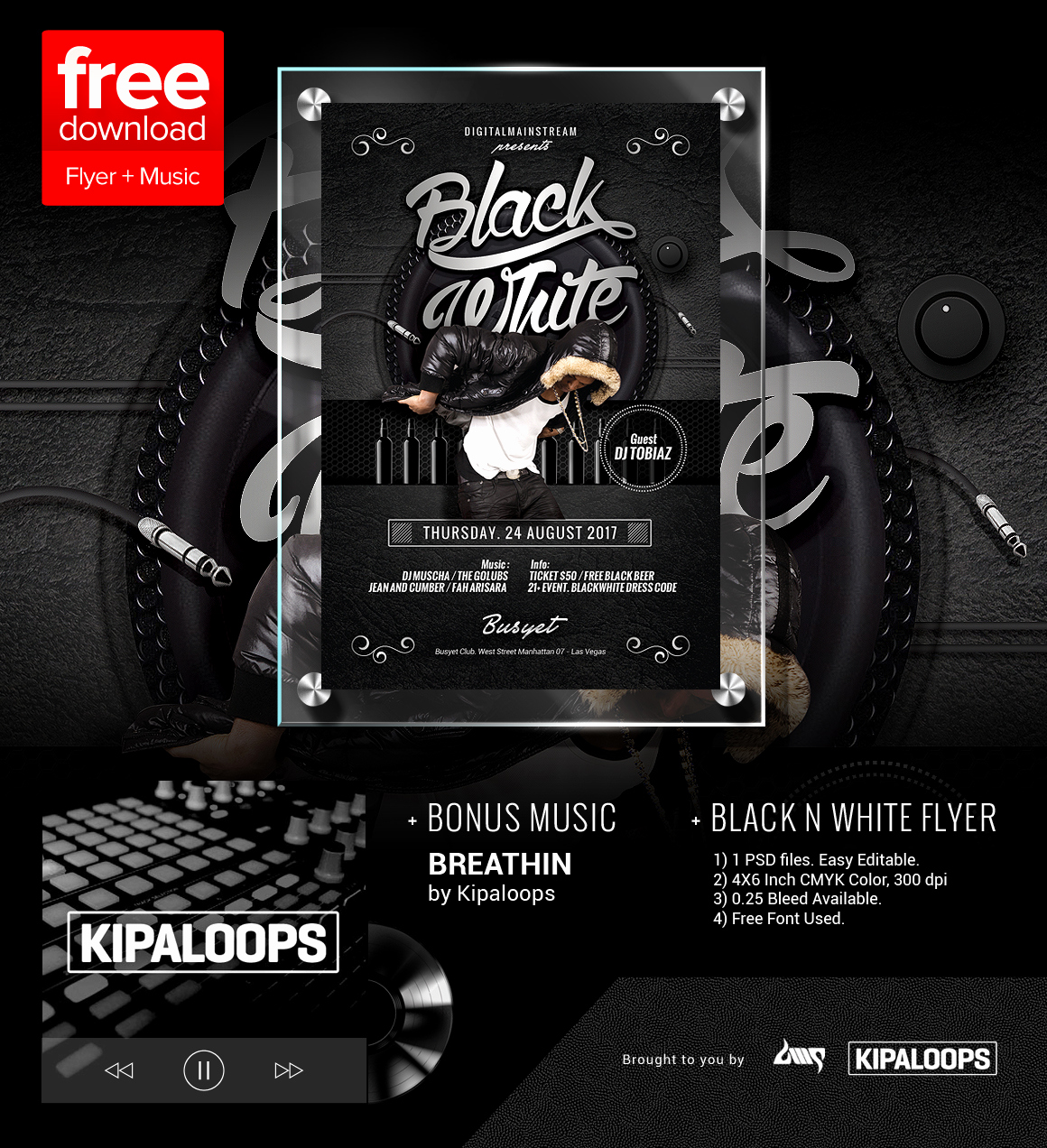 Free Club Flyer Templates Inspirational Free Black and White Club Flyer Template Music by