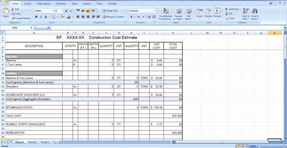 Free Construction Estimate Template Excel Fresh Construction Cost Estimate Template Free Download