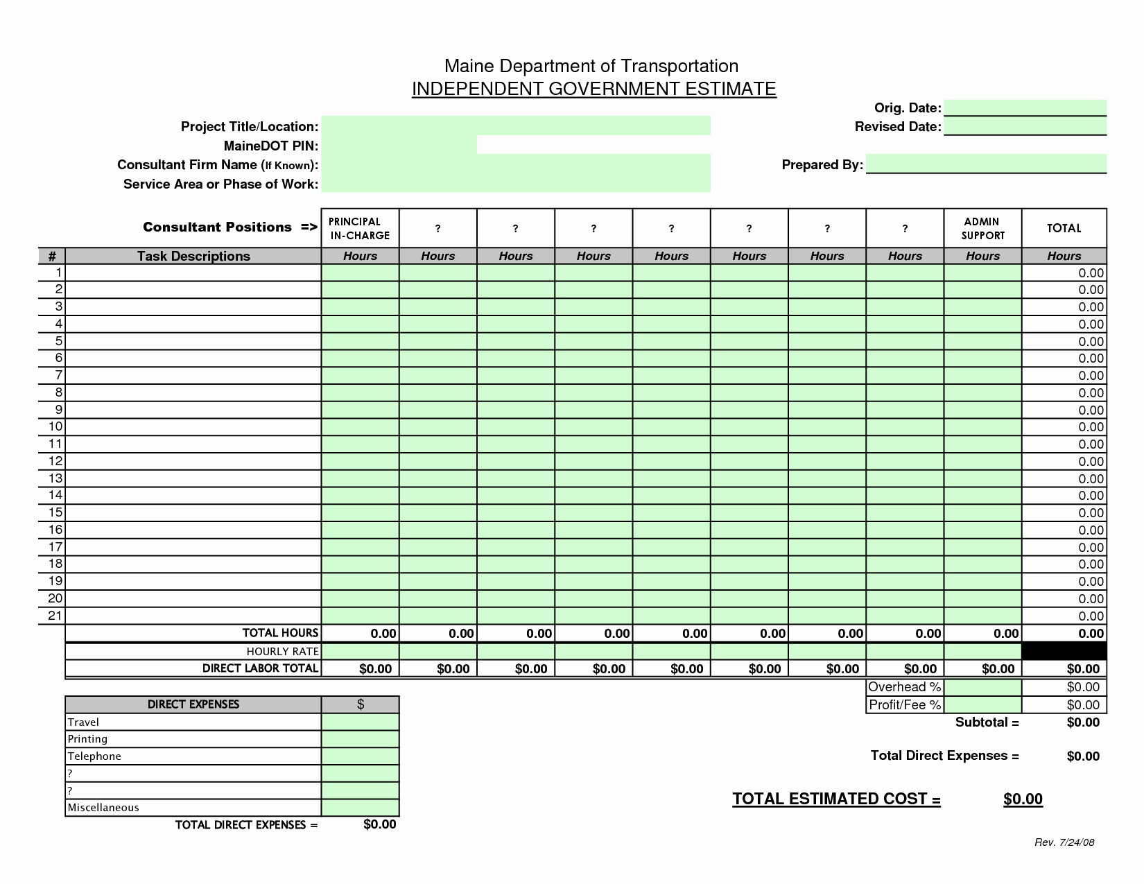 Free Construction Estimate Template Excel New Construction Bid Sheet Template