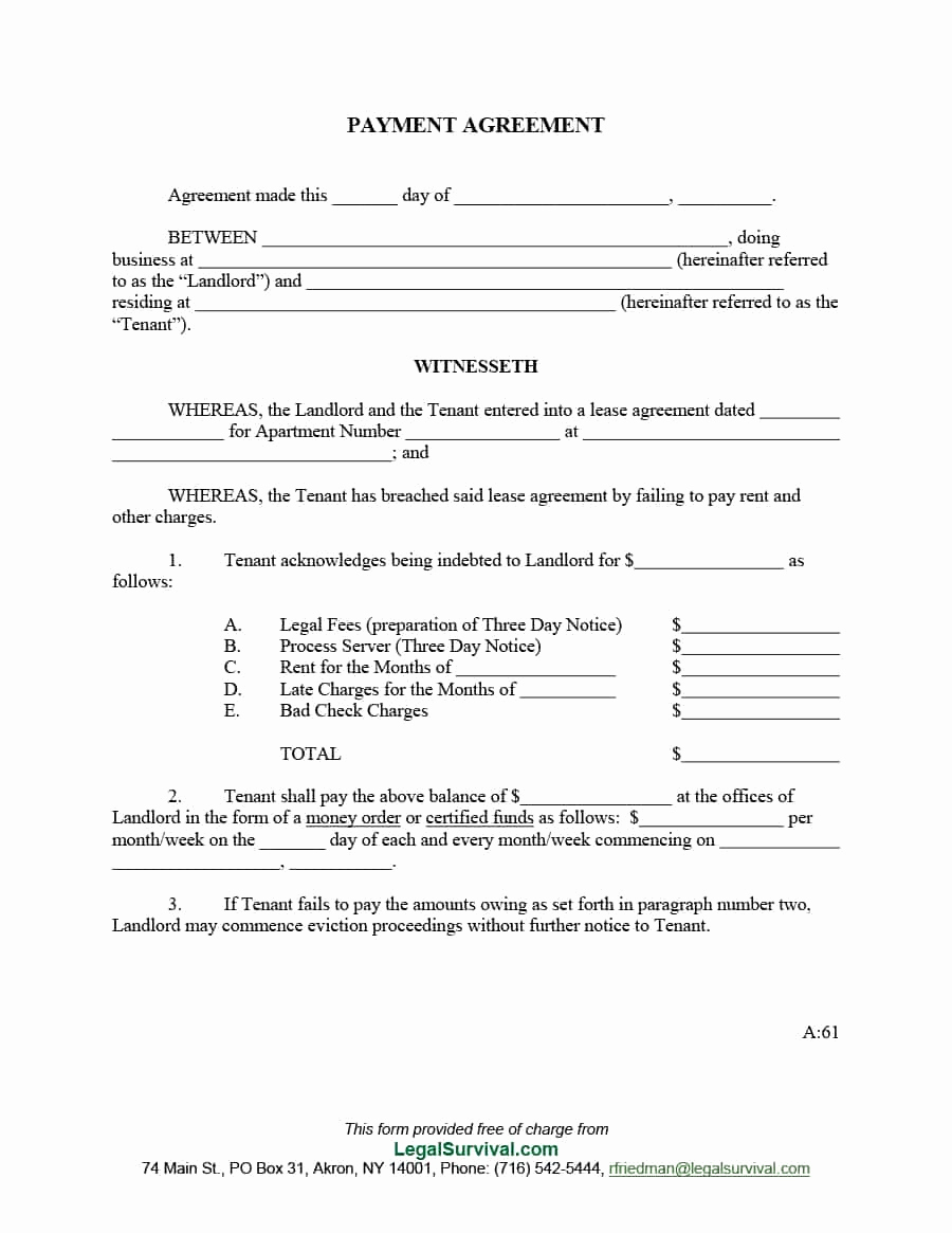Free Contractor Agreement Template Awesome Payment Agreement 40 Templates & Contracts Template Lab