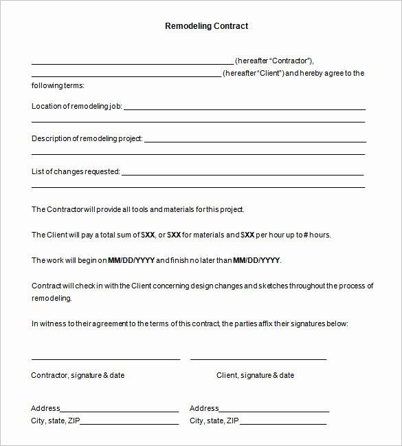 Free Contractor Agreement Template Beautiful 11 Remodeling Contract Templates Docs Word Apple