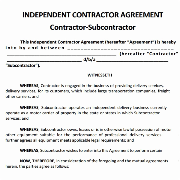 Free Contractor Agreement Template Beautiful Subcontractor Agreement 13 Free Pdf Doc Download