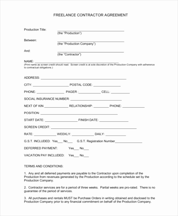 Free Contractor Agreement Template Fresh 17 Sample Freelance Contract Templates Pages Word
