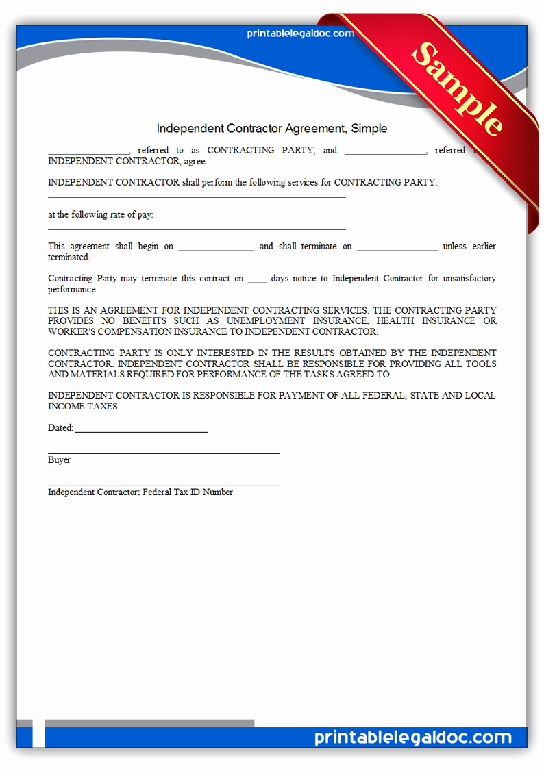 Free Contractor Agreement Template Inspirational Free Printable Independent Contractor Agreement Simple
