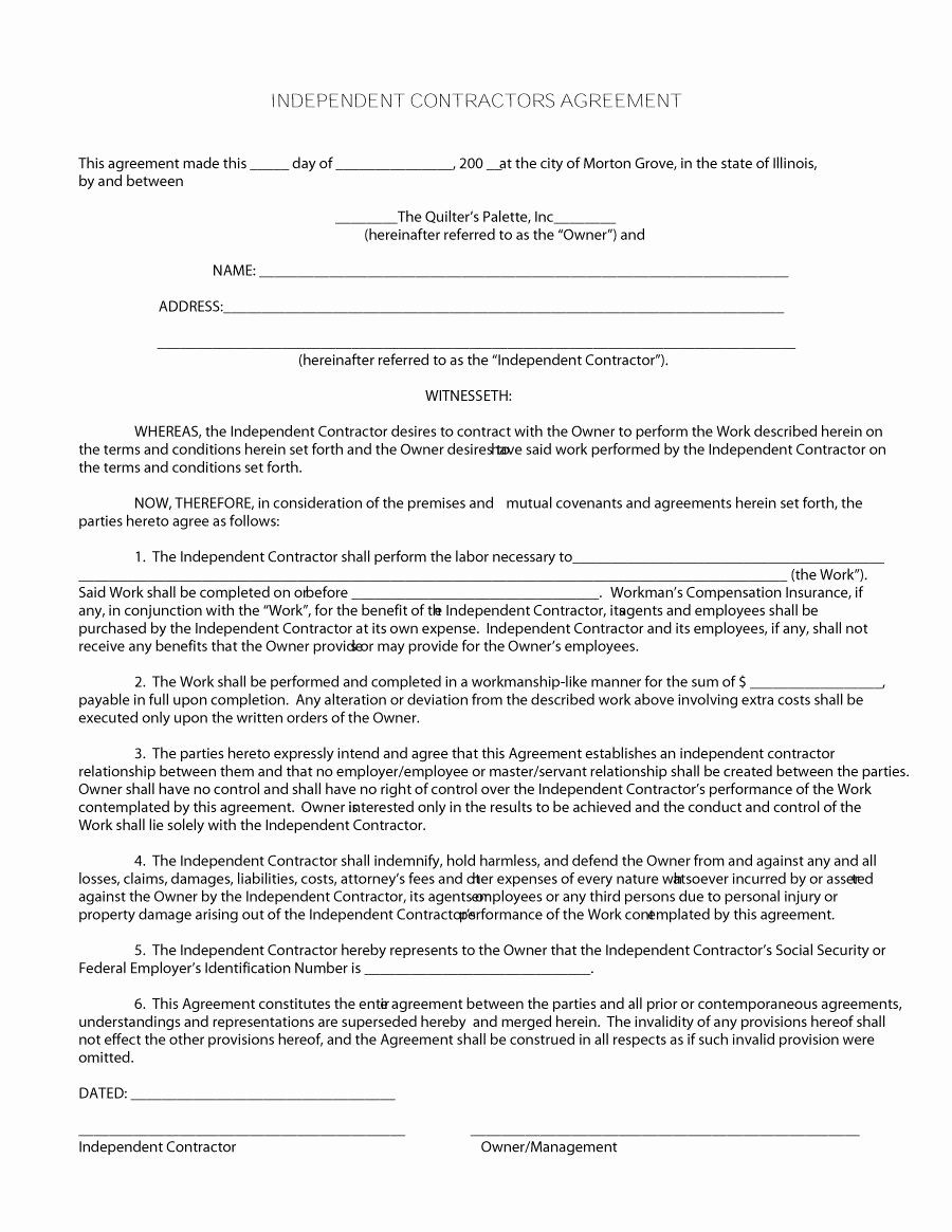 Free Contractor Agreement Template New 50 Free Independent Contractor Agreement forms & Templates