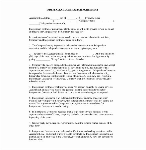 Free Contractor Agreement Template New Contractor Agreement Template – 23 Free Word Pdf Apple