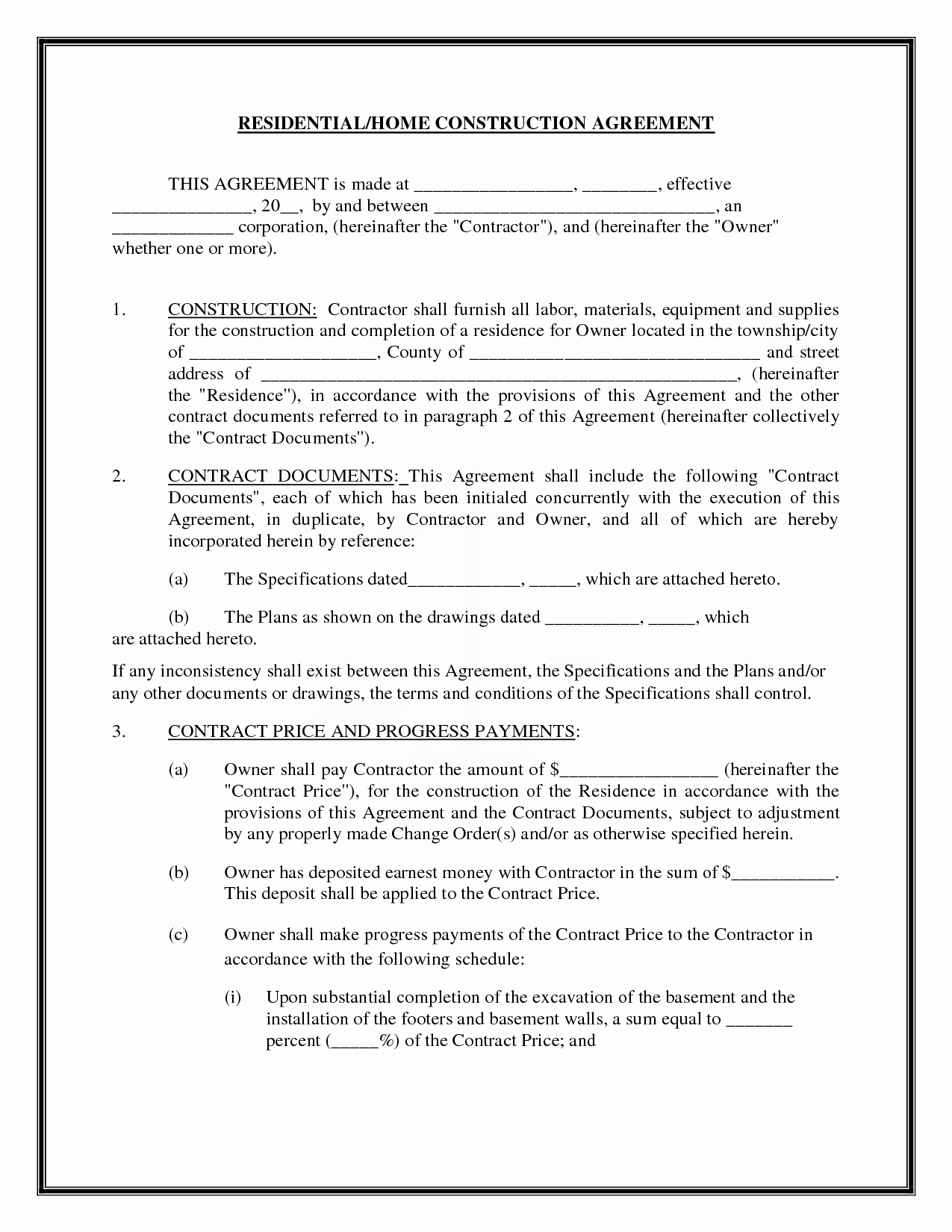 Free Contractor Agreement Template Unique Residential Home Construction Agreement by Readybuiltforms