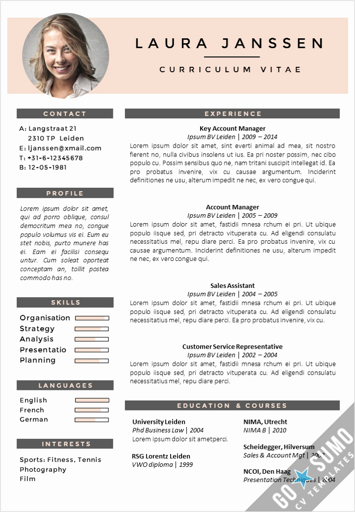 Free Creative Resume Templates Word Beautiful Cv Template Milan Go Sumo Cv Template