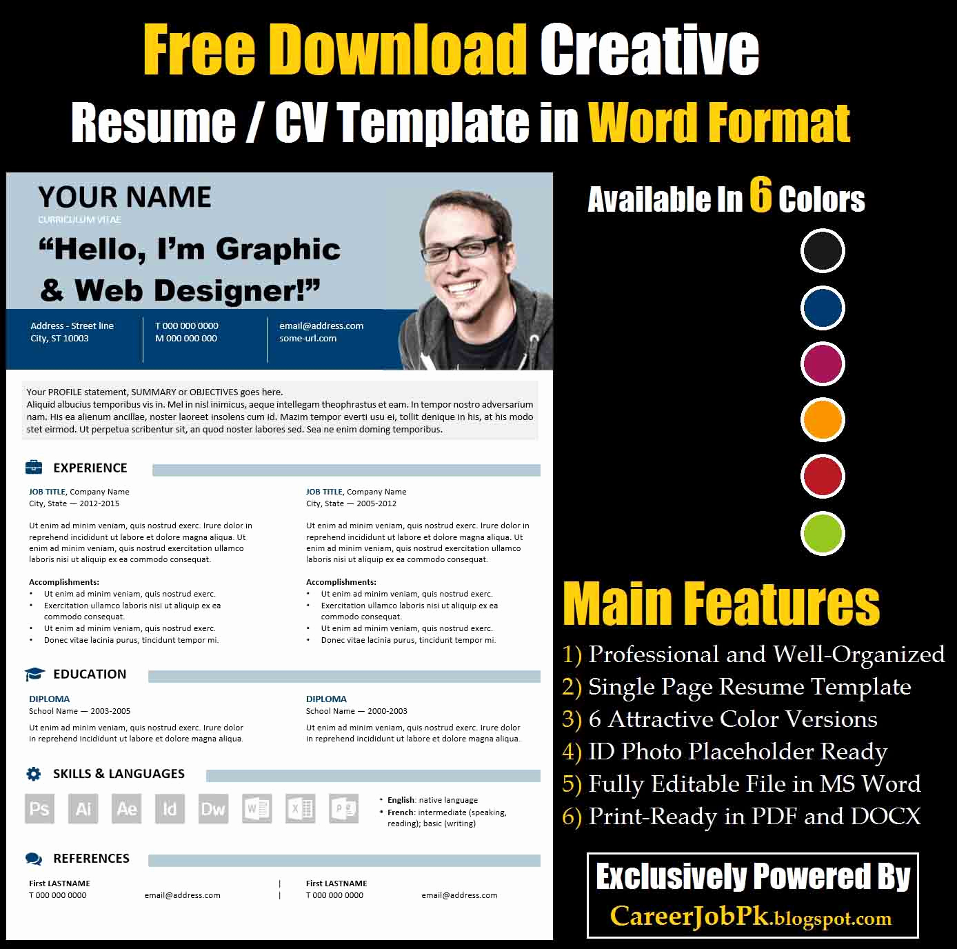 Free Creative Resume Templates Word Fresh Free Download Editable Resume Cv Template In Ms Word format