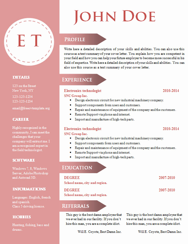 Free Cv Template Word Beautiful Free Cv Resume Template 740 – 746 – Free Cv Template Dot org