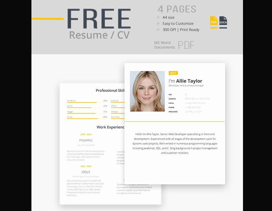 Free Cv Template Word Fresh 65 Eye Catching Cv Templates for Ms Word