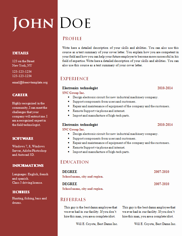 Free Cv Template Word New Free Creative Resume Cv Template 547 to 553 – Free Cv