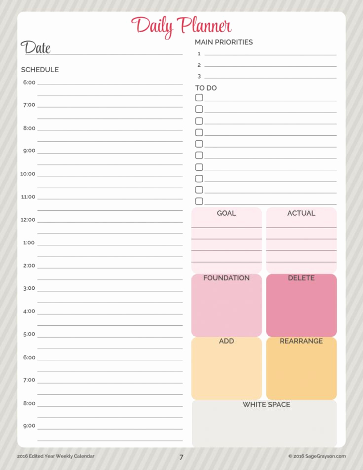 Free Daily Planner Printables Elegant Free Printable Worksheet Daily Planner for 2016