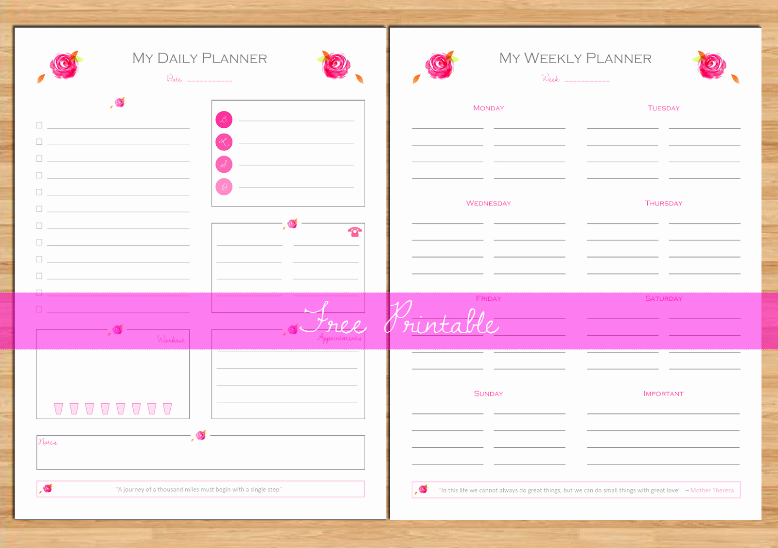 Free Daily Planner Printables Inspirational Made In Craftadise