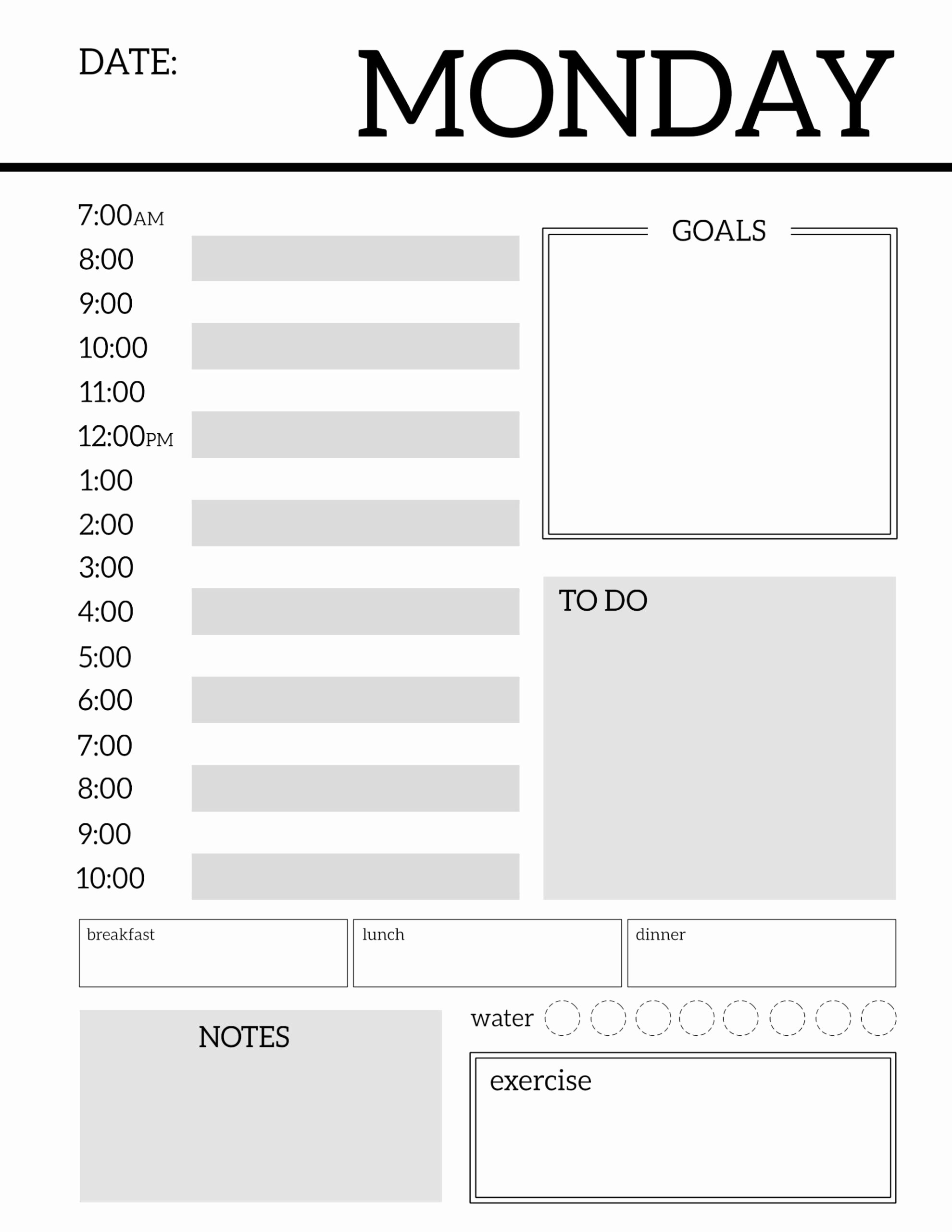 Free Daily Planner Printables Luxury Daily Planner Printable Template Sheets Paper Trail Design