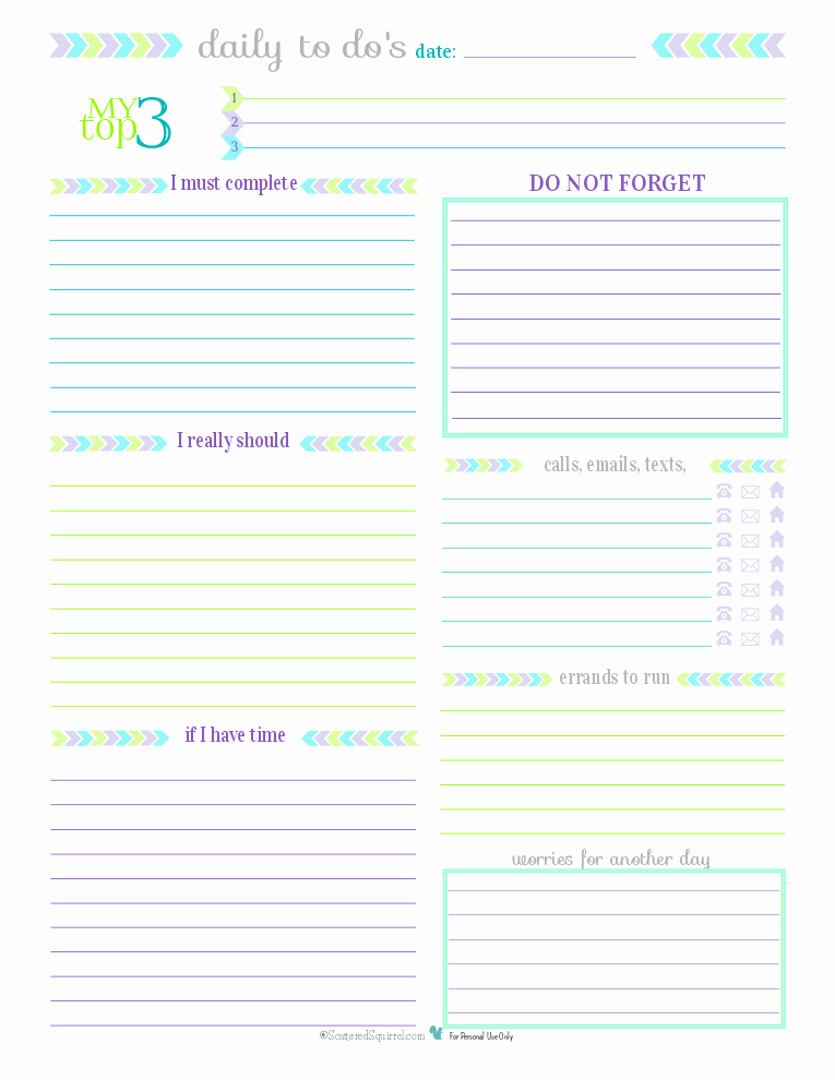 Free Daily Planner Printables Luxury Day 27 to Do List Printables Scattered Squirrel
