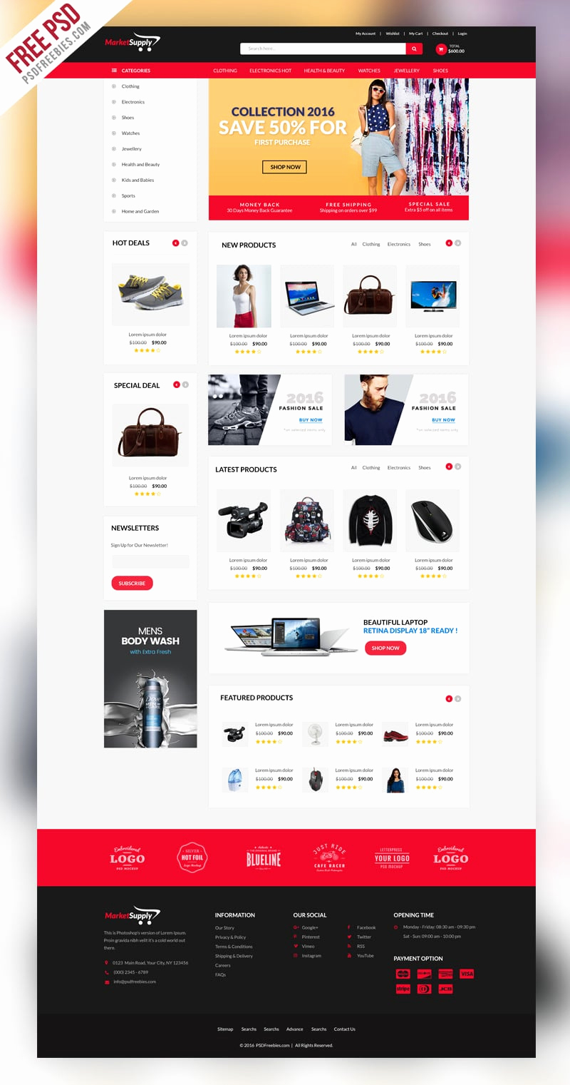 free e merce web templates psd