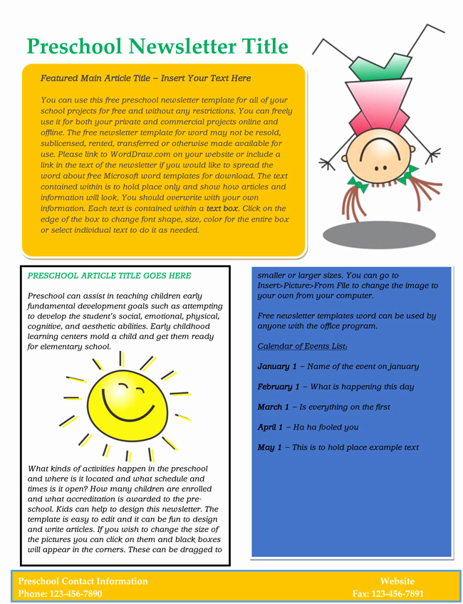 Free Editable Newsletter Templates Awesome 16 Preschool Newsletter Templates Easily Editable and
