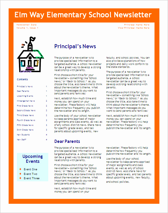 Free Editable Newsletter Templates Beautiful Free 6 Editable Primary Classroom School Newsletter