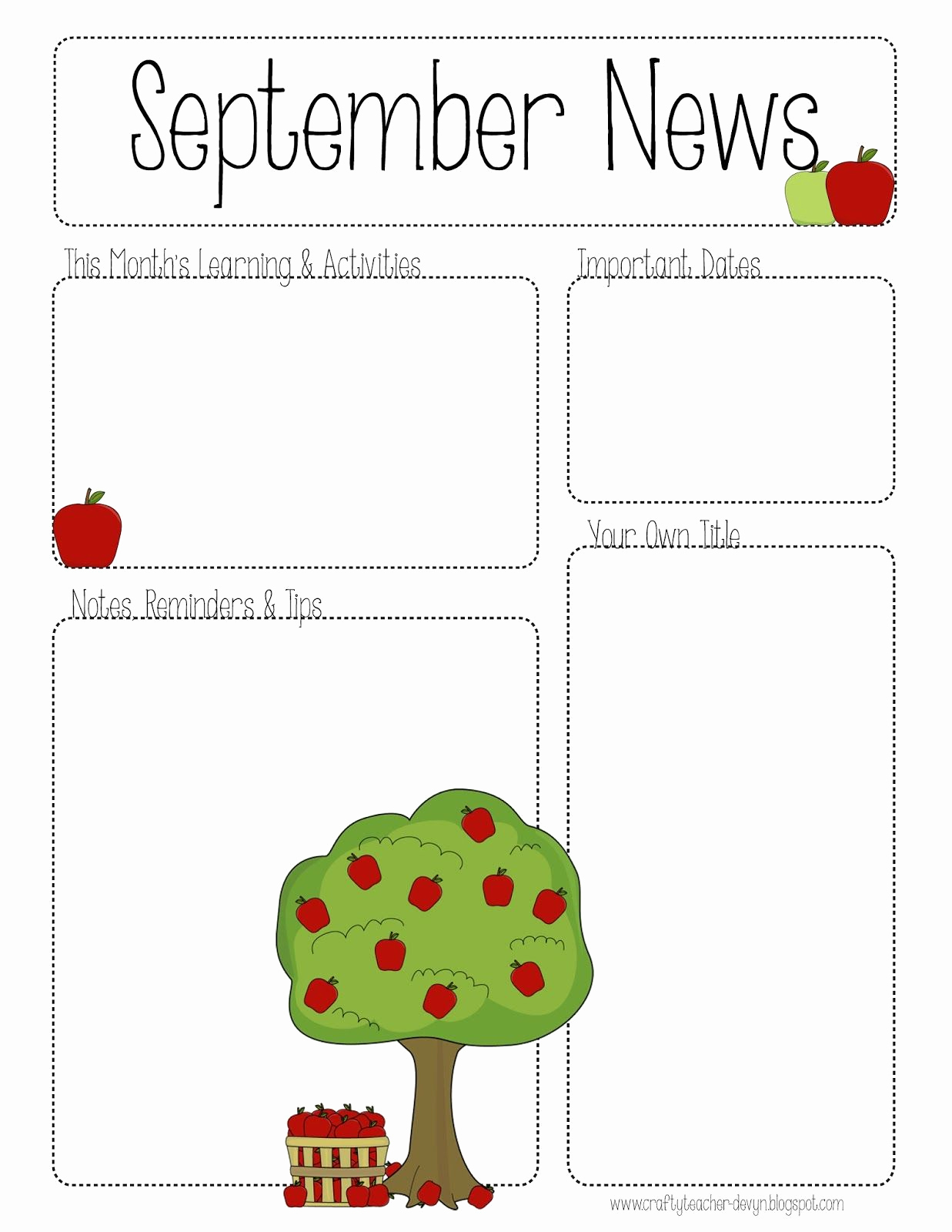 Free Editable Newsletter Templates Beautiful September Printable Newsletter All Grades
