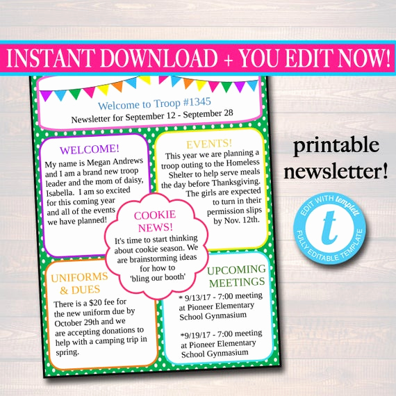 Free Editable Newsletter Templates Luxury Editable Newsletter Template Instant Download Teacher
