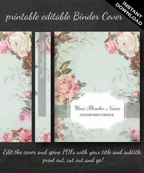 Free Editable Printable Binder Covers Awesome Printable Editable French Country Vintage Rose Binder