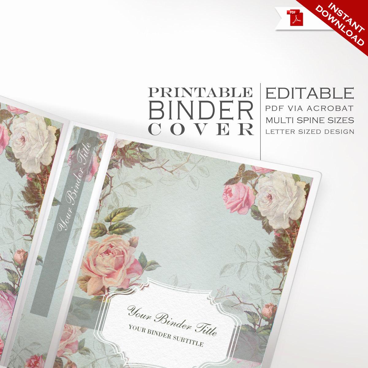 Free Editable Printable Binder Covers Best Of Binder Cover Printable Editable French Country Vintage Rose