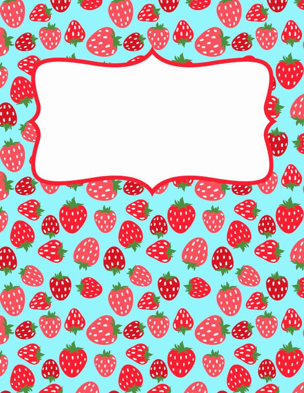 Free Editable Printable Binder Covers Lovely Free Printable Strawberry Binder Cover Template Download