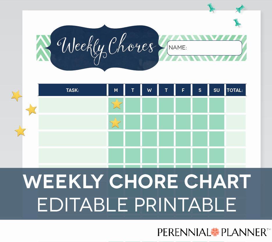 Free Editable Printable Chore Charts Awesome Chore Chart Printable Editable Pdf Kids by Perennialplanner