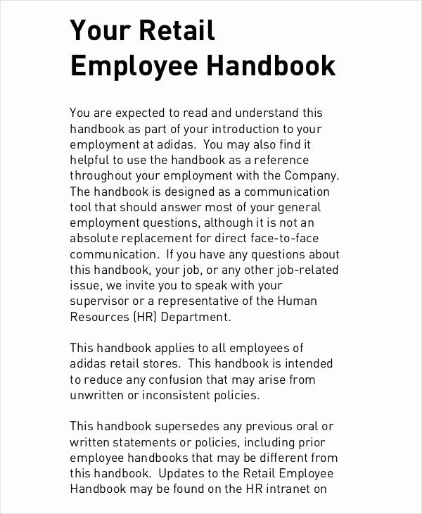 Free Employee Handbook Template Beautiful Employee Handbook Sample 9 Free Pdf Documents Download