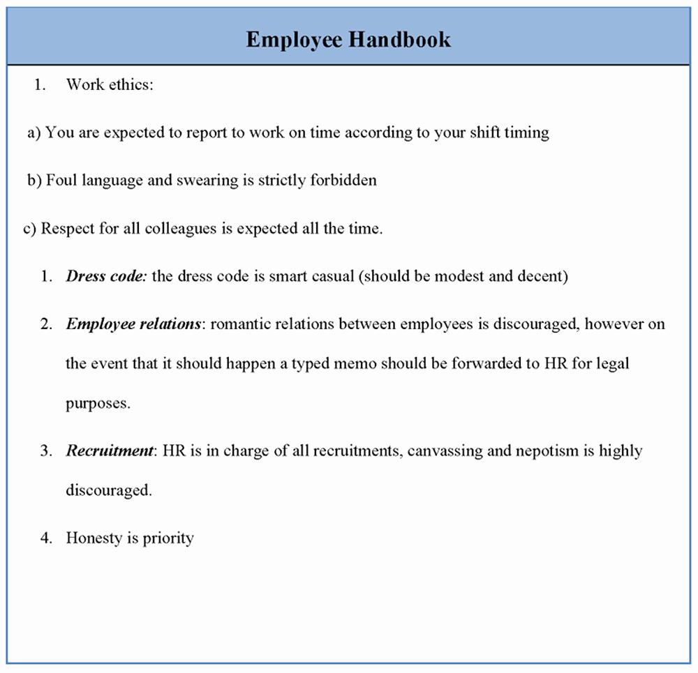 Free Employee Handbook Template Beautiful Employee Template for Handbook Sample Of Employee
