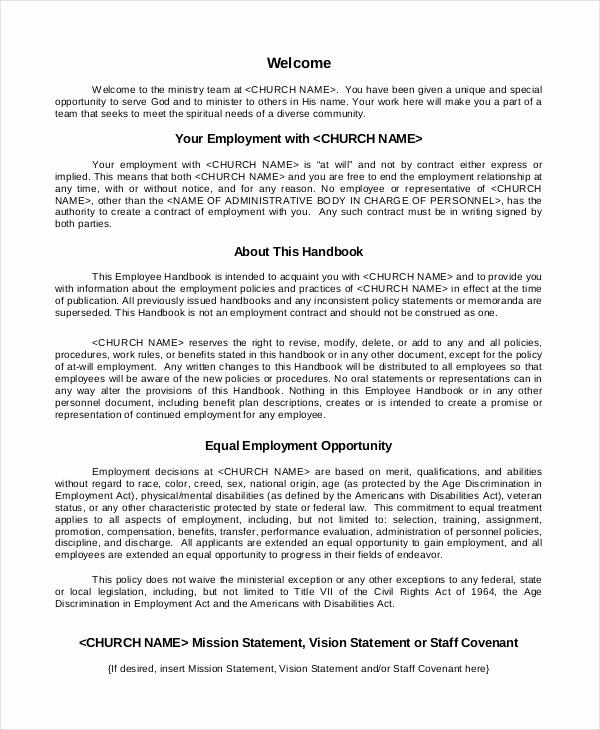 Free Employee Handbook Template Best Of Employee Handbook Template 12 Free Sample Example