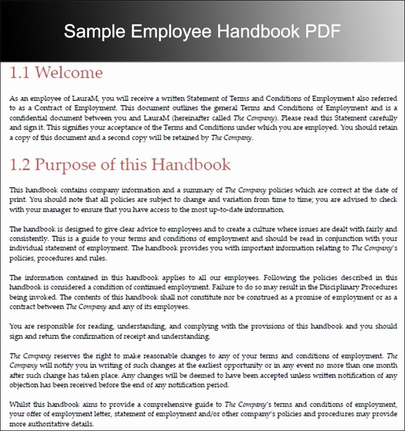Free Employee Handbook Template Elegant Employee Handbook Template Beepmunk