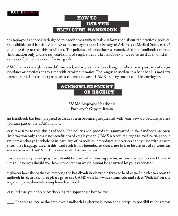 Free Employee Handbook Template Lovely Employee Handbook Sample 9 Free Pdf Documents Download