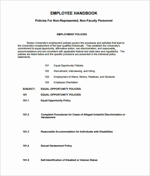 Free Employee Handbook Template Lovely Employee Handbook Template 6 Free Pdf Doc Download