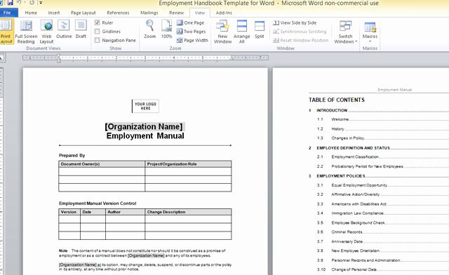 Free Employee Handbook Template Luxury Employment Handbook Template for Word