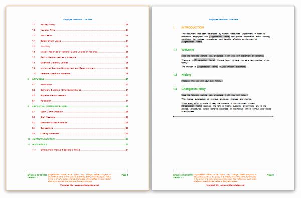 Free Employee Handbook Template Luxury Free Templates