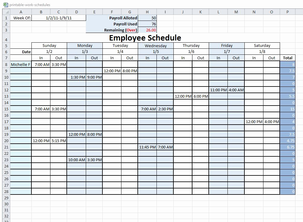 Free Employee Schedule Template Awesome 10 Best Of Free Printable Blank Employee Schedules